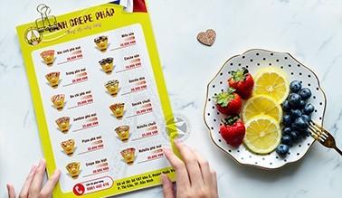 Thiết kế menu BÁNH CREPE PHÁP